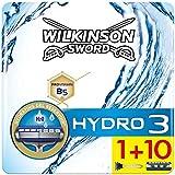 Wilkinson Sword Pack FFP ECO Box Hydro 3 - Kit de Maquinilla de Afeitar de 3 Hojas para Hombre + 11 Recambios de Cuchillas, Afeitado Manual Masculino
