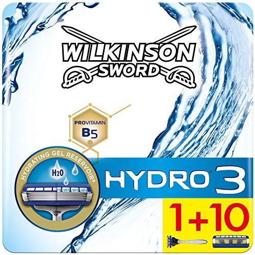Wilkinson Sword Hydro 3 - Confezione da 1 Rasoio da Uomo + 10 Lame di Ricambio - Confezione adatta alla buca da lettere