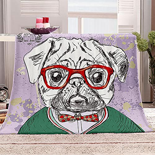 Perro con Gafas Manta de Lana Animal 3D Manta de Franela Ultra-Soft Micro Fleece Blanket Mantas de Lujo para niños y Adultos 70x100cm