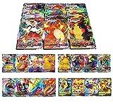 RULY Cartas Coleccionables De Pokemon, 100 Piezas (40 VMAX-Cartas+60 V-Cartas) Cartas de Pokémon, Cartas de Pokémon GX Mega, Cartas de Memoria Flash de Pokémon, Regalos para niños