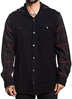 Sullen Men's Open Road Flannel Long Sleeve Hoodie Black