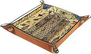 Boîte de rangement de bureau pliable en cuir synthétique - Table de jeu carrée - Pour clés, portefeuille, pièces de monnai...
