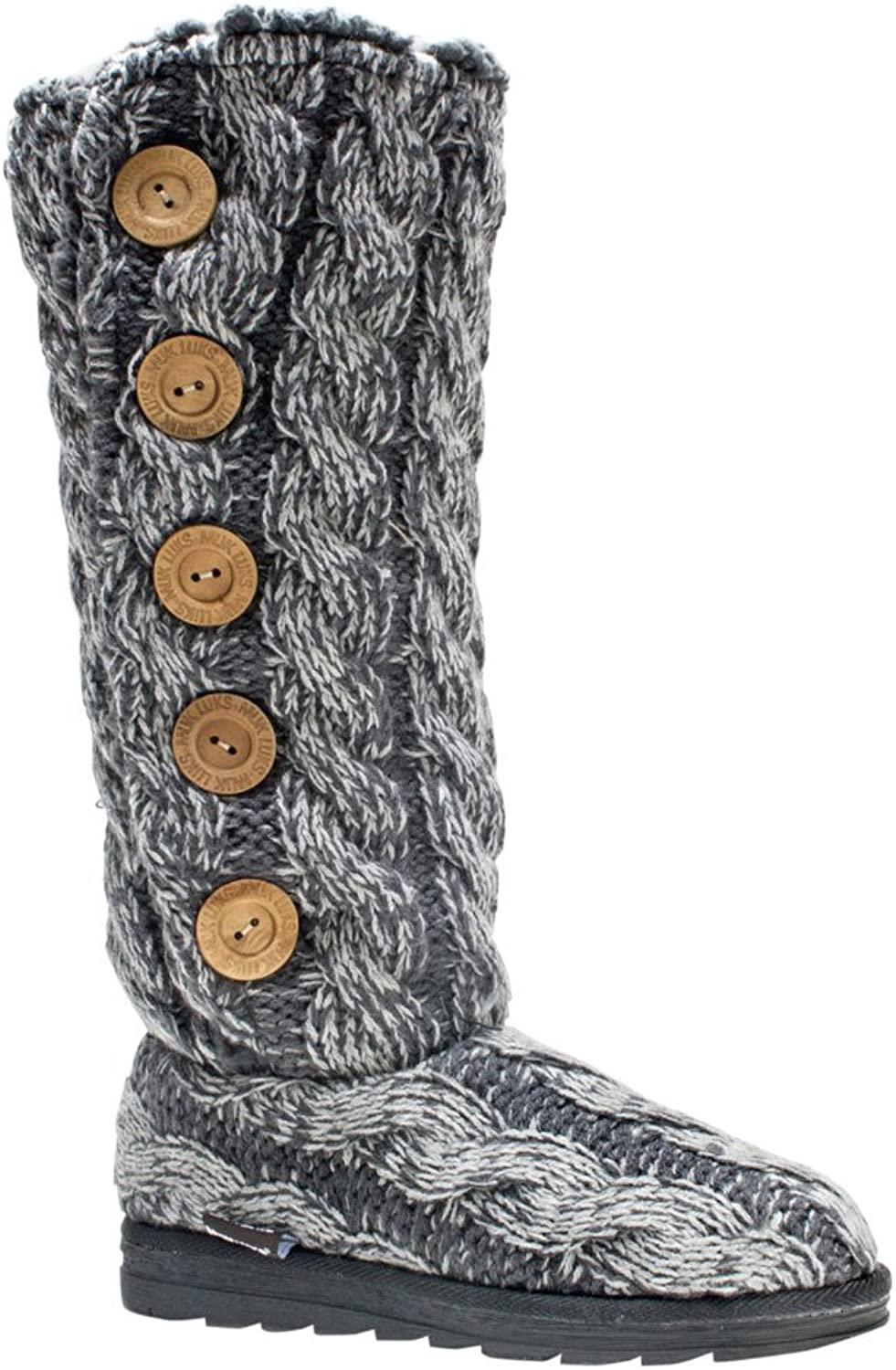MUK LUKS Women's Malena Lattic Sweater Winter Boot Navy