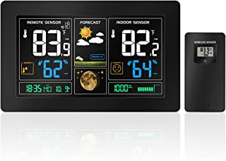 Protmex Wireless Weather Forecast Station PT3378 WWVB Radio Control Alarm Color LCD Display with Temperature Alerts with Outdoor Temperature Humidity Remote Sensor