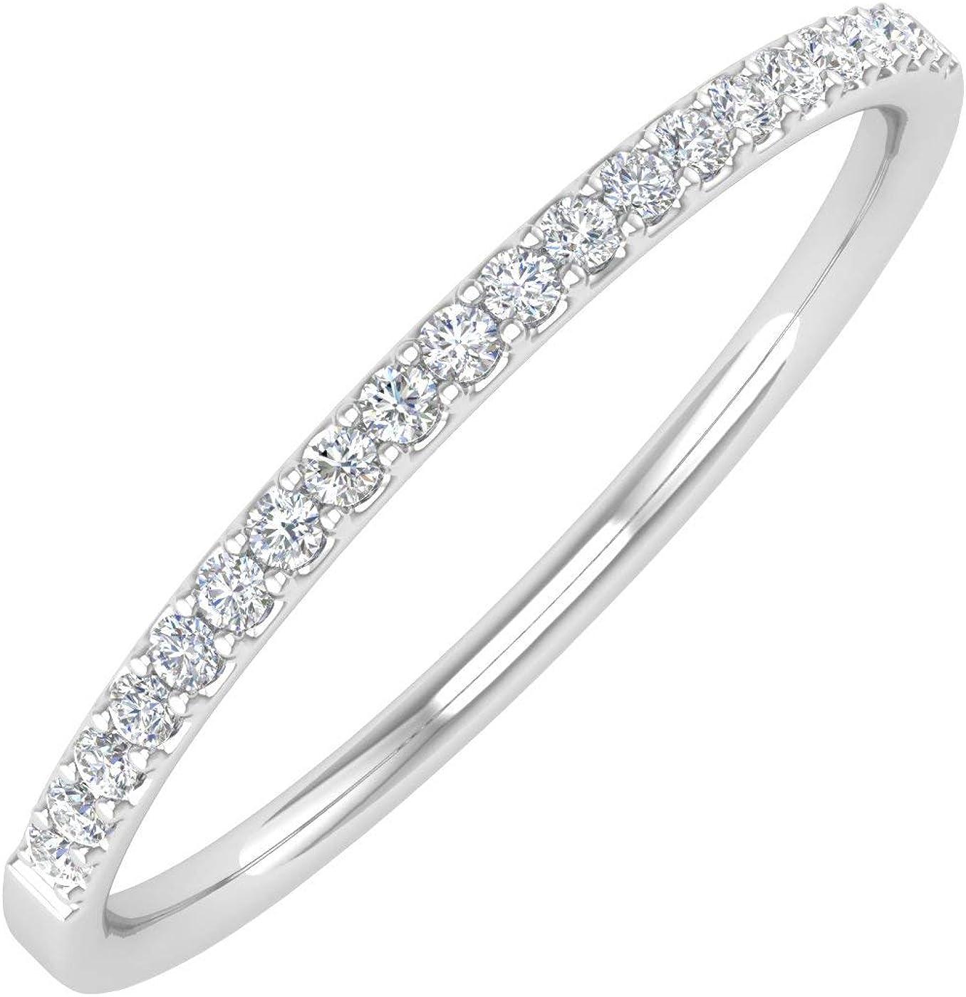 1/10 Carat (ctw) 10K Gold Natural Round Diamond Ladies Wedding Anniversary Stackable Ring