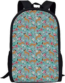 FUIBENG Flower Belgian Malinois Dog Backpack Vintage School Bag Insulated Casual Daypack Purse Shoulders Bag