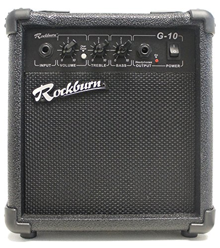 Rockburn 10 Watt Amplifier for Electric Guitar with Overdrive, EQ Controls & Carry Handle (BC-10S-BK)
