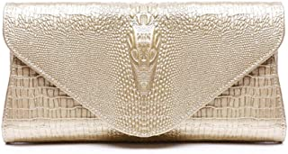 Damen Abendtasche Frauen Elegante Prom Leder Umschlag Kupplungen Tasche Krokoprägung Armband Abend Handtasche Party Kupplung Geldbörse Braut Hochzeit Tasche Schulter Umhängetasche (Farbe : Gold)