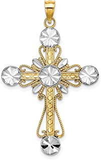 Lex & Lu 14 Yellow Gold w/RhodiumD/C Circles Cross Charm Cross