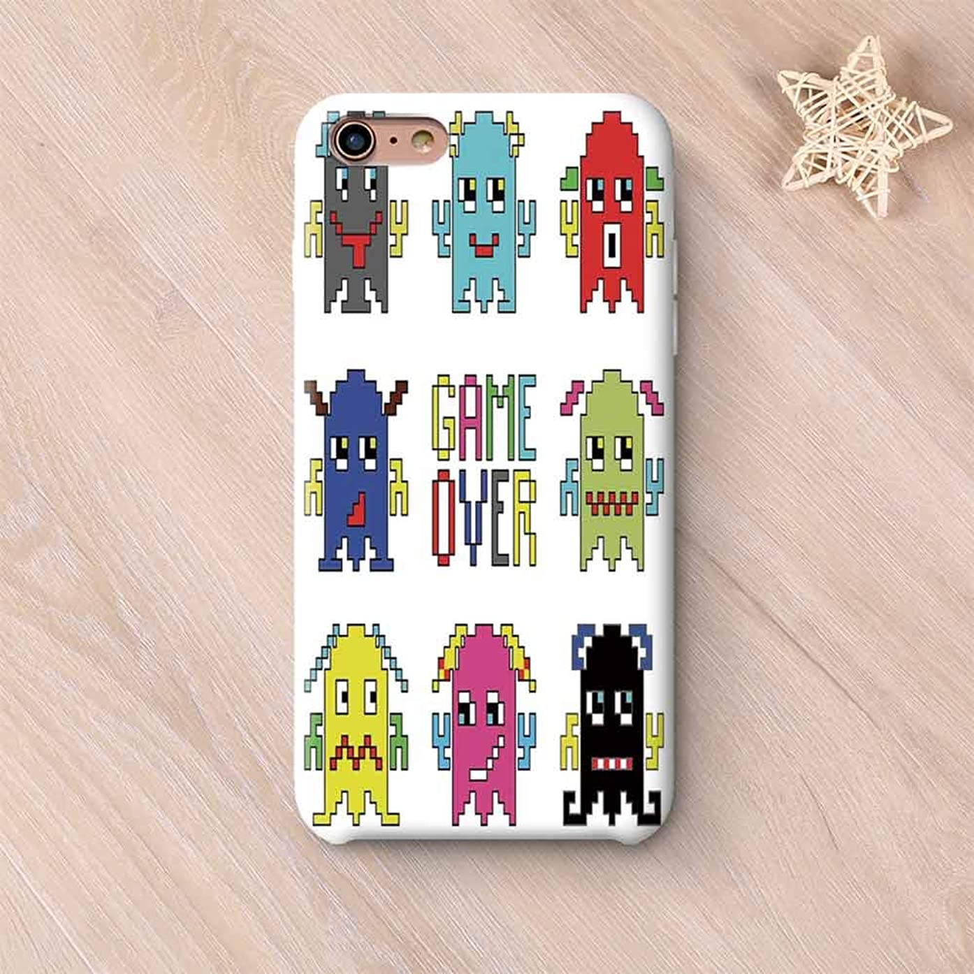 90s Non Fading Compatible with iPhone Case,Pixel Robot Emoticons with Game Over Sign Inspired by 90s Computer Games Fun Artprint Compatible with iPhone 6 Plus / 6s Plus,iPhone 6 Plus / 6s Plus