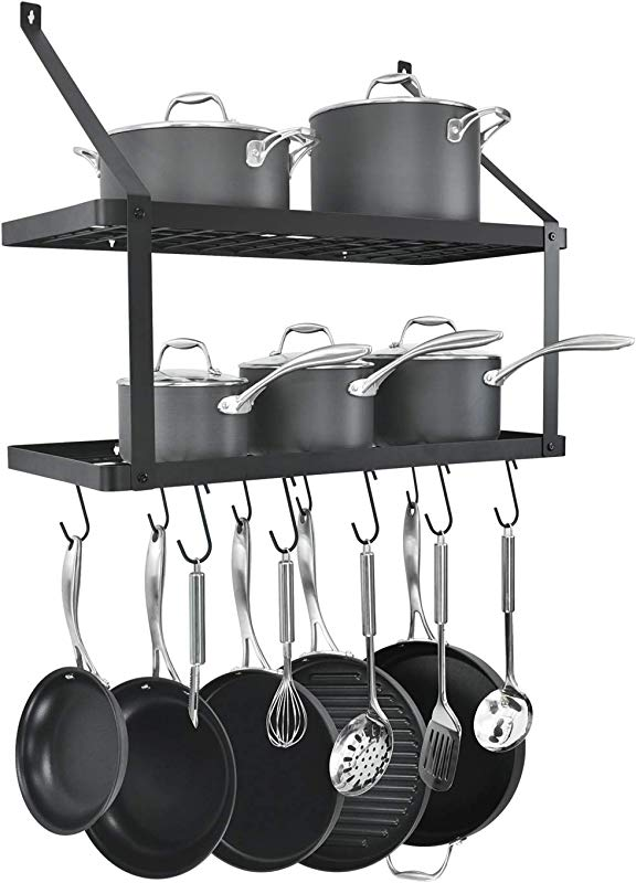 HomeLifairy Wall Mounted Double Pot Shelf Rack Pan With 10 Pot And Pan Hanging Hooks For Home Kitchen Restaurant