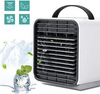 LUSHUN Mini Aire Acondicionado Portátil, Ventilador de Refrigeración USB de 3 Velocidades, Humidificador y Purificador, con Luces LED, para Hogar Oficina Acampada