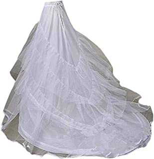 Yuxin White Hoops Long Train Bridal Petticoat Crinolines for Wedding Dresses Underskirt