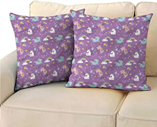 RuppertTextile Magical Customized Pillowcase Unicorn Rainbows Baby Anti-Fading W23 x L23