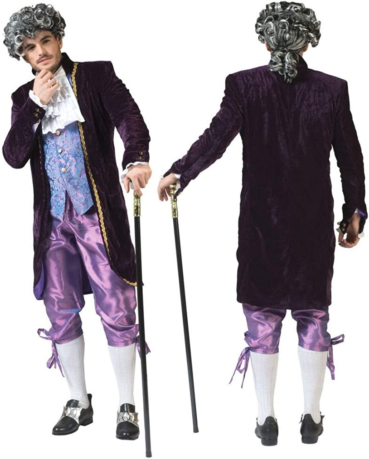Funny Fashion Costume nobleman size 48 50 (UK 38 40) Nobleman Clive tails with vest purple pants Jabot Baroque