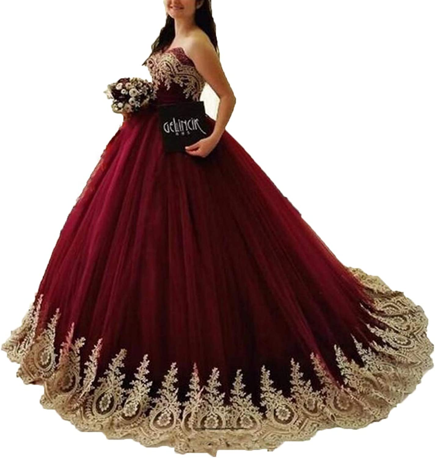 WIYMSHZ Bonnie Women's gold Lace Appplique Ball Gown Long Puffy Prom Sweet 16 Quinceance Dress BS059