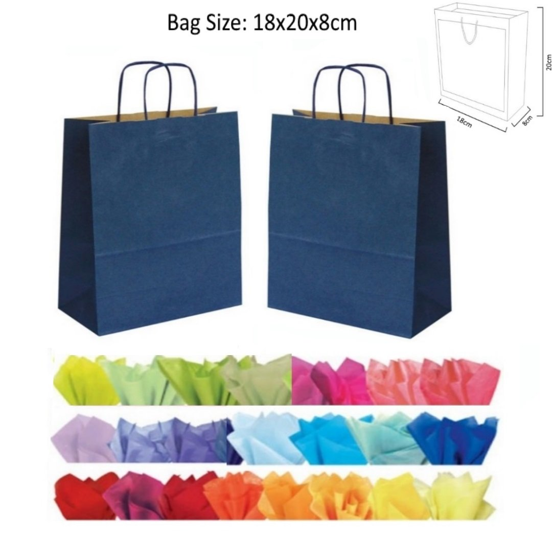 6 Colors Tea Party Tupa 30 Pieces Kraft Paper Party Bags Sideling Stripes Bag Candy Bags Birthday Gift Bags with Handle for Gift Wedding and Party Favor
