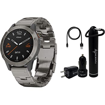 Garmin Fenix 6 Premium Multisport GPS Watch with Pulse Ox with Included Wearable4U Power Pack Bundle (Sapphire/Titanium with Vented Titanium Bracelet)