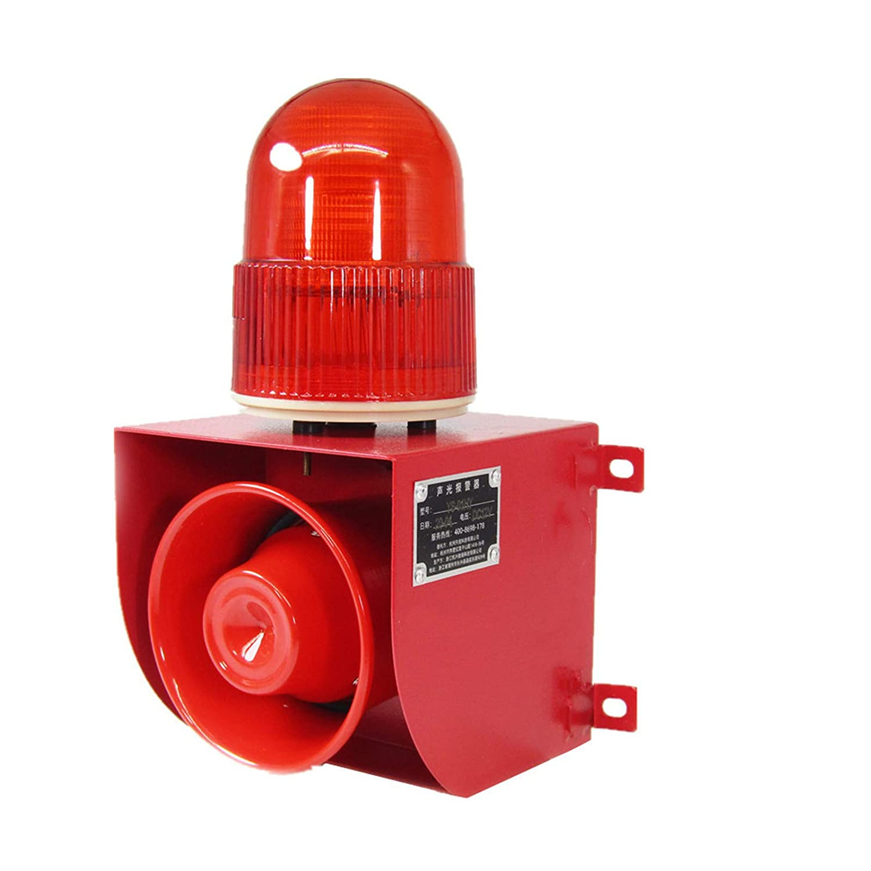 YS-01 Industrial Sound and Light Alarm Siren Horn Strobe Warning Light Outdoor Horn Siren Alarm Emergency Indoor Flashing Light Waterproof 120db