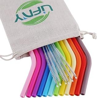 12 pajitas de silicona reutilizables de tamaño regular para vasos Yeti/Rtic/Ozark, 6 cepillos + 1 bolsa de lino. 12 pcs bend Colorido
