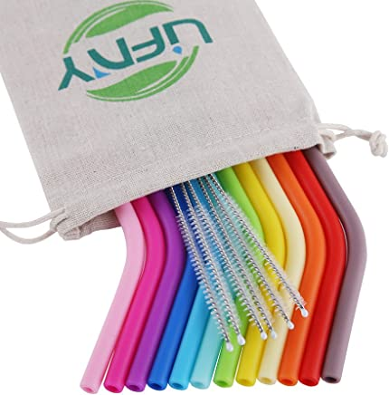 12Pcs Silicone Straws Reusable Straws Regular Size Straws for 30&20 OZ Yeti/Rtic/Ozark Tumblers + 6Pcs Brushes+ 1 Linen Pouch