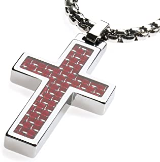 GESTALT COUTURE Unique Tungsten Cross Pendant. 4mm Wide Surgical Stainless Steel Box Chain. Red Carbon Fiber Inlay.