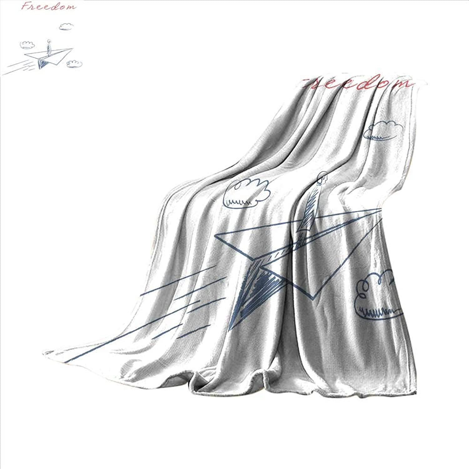Smallbeefly Adventure Digital Printing Blanket Flying Paper Plane in Hand Drawn Sketch Cartoon Style Freedom Text Clouds Summer Quilt Comforter 60 x50  blueegrey Red White