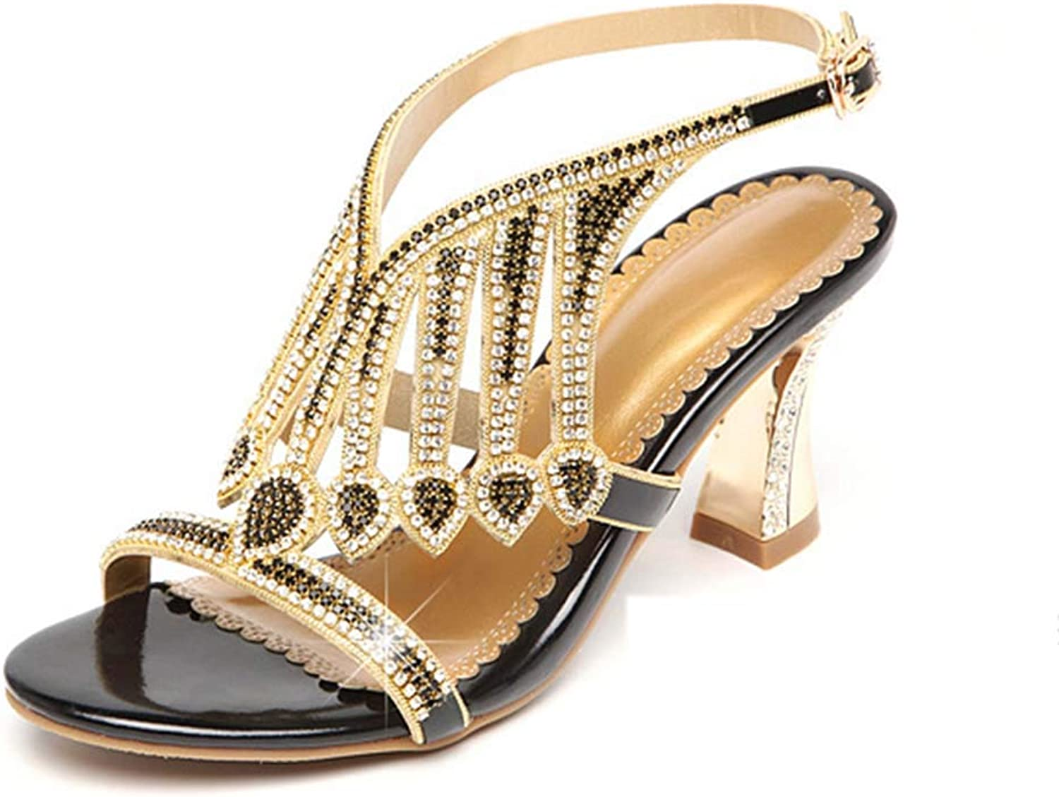 Women's Sandals Rhinestones with Diamond-Encrusted Leather Sandals high Heels Open Toe Thick Heel Sandals Summer New