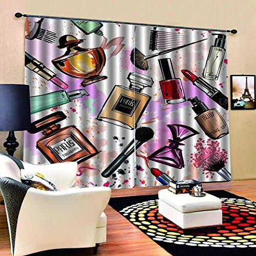 N / A 3D Druck Verdunkelungsvorhänge Parfüm Lippenstift Undurchsichtige Vorhänge Waschbar Langhaltig Hochwertig Verdunkelungsvorhang Wohnzimmer Schlafzimmer Küche Thermovorhang