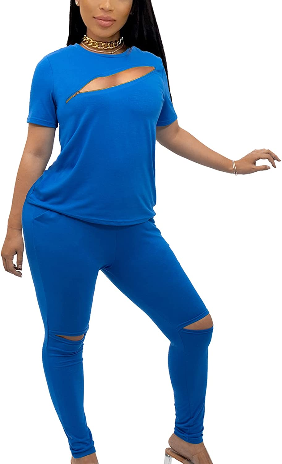 Women Casual 2 Piece Sport Outfits Sets-Sexy Short Sleeve Shirts and Long Pants Joggers Sportswear Set