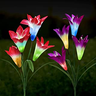 Outdoor Solar Garden Stake Flower Lights,Upgraded LED Solar Powered Light, Multi-Color Auto-Changing 8 Bigger Lily Flower ...