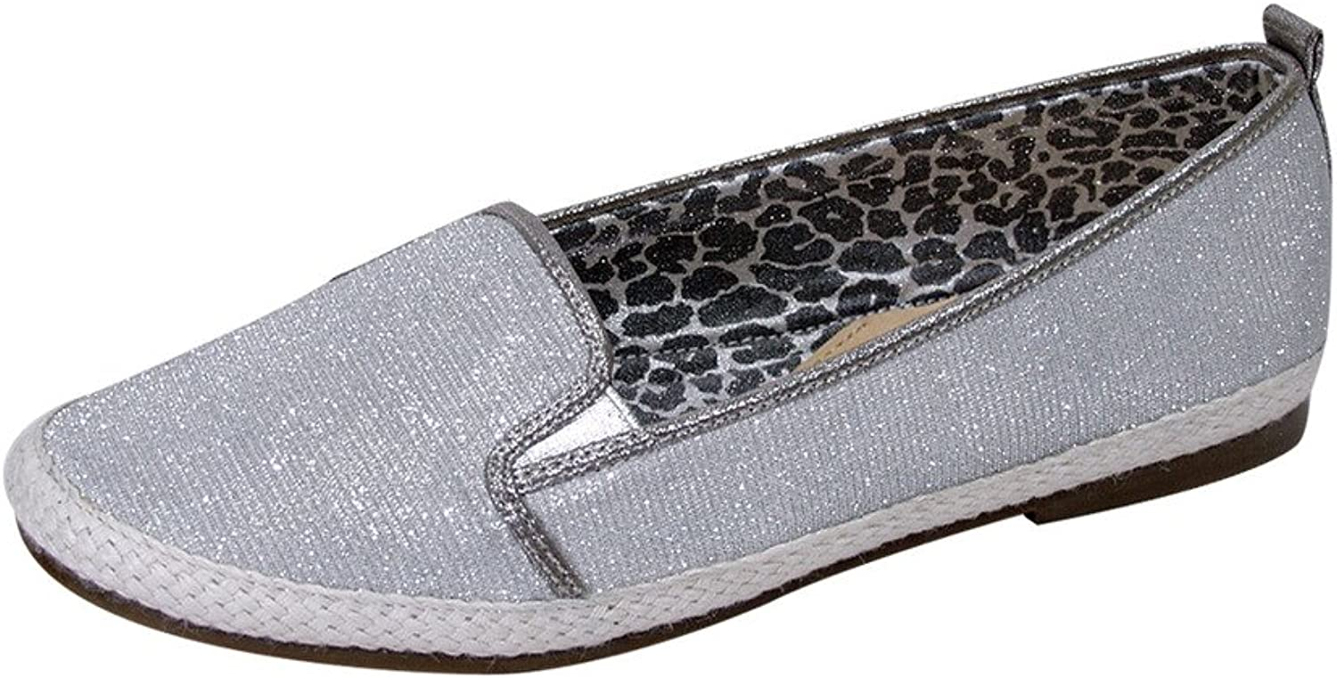 Fuzzy FIC Lacy Women Wide Width Casual Slip On Metallic Loafer Flat for Everyday (Size Measurement Guide)