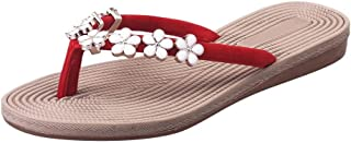AHOMI Bohemia Floral Flip Flops Women Flat Summer Sandals Casual Beach Slippers for Women Dressing up