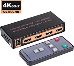 4K@60Hz HDMI 2.0 Switch 3x1, ROOFULL 3 Ports 4K HDMI Switcher with IR Remote Support Auto-Switch, HDR, HDCP 2.2, Dolby Vision, 1080P/3D, Compatible for PS4 Pro, Xbox, Fire TV, Apple TV (3 in 1 Out)