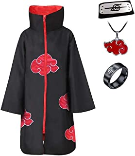 Anime Naruto Akatsuki/Uchiha Itachi Cosplay Halloween Christmas Party Costume Cloak Cape with Headband Necklace Ring
