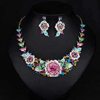 Wcysin Women Crystal Statement Necklace and Earrings Sets Costume Jewelry Chunky Jewelry Set (Colorful)