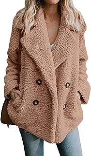 Bloomn Women's Fashion Long Sleeve Lapel Zip Up Faux Shearling Shaggy Oversized Coat Jacket with Pockets Warm Winter Khaki