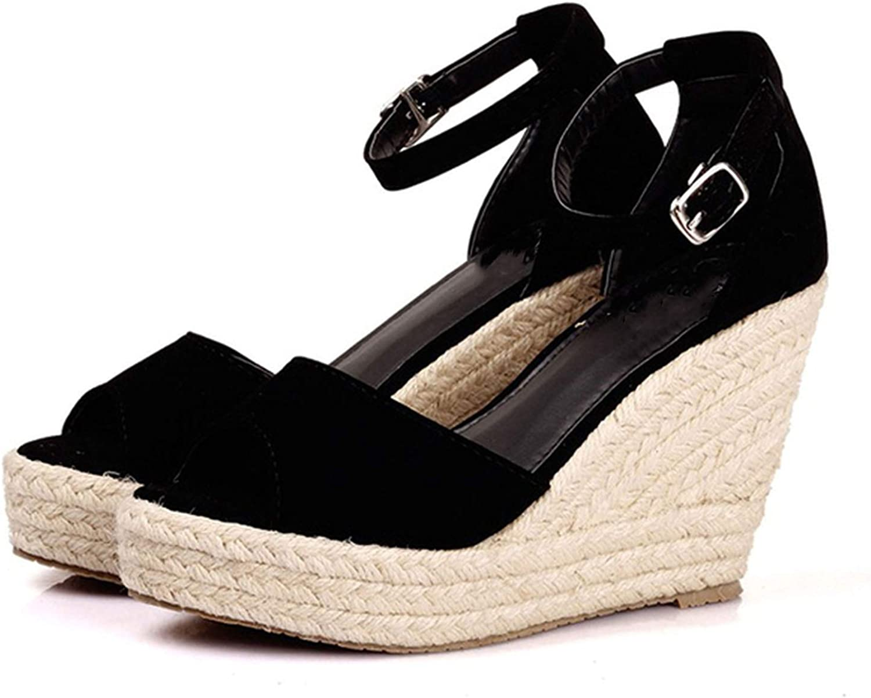 Fairly_headstream Summer StyleWomen Wedge Sandals Fashion Concise Open Toe Platform High HeelsWomen Sandals