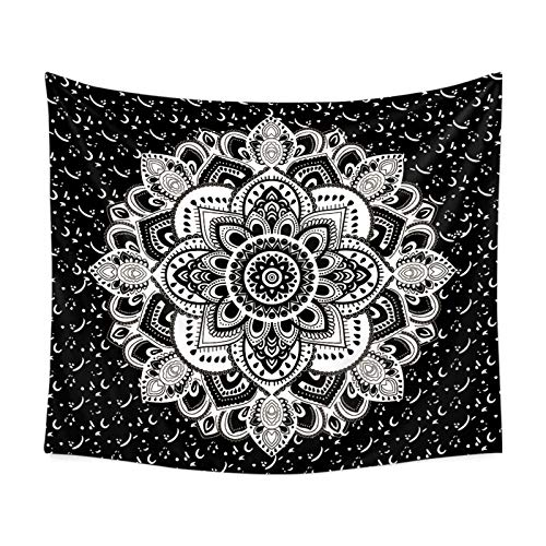 Aienid Wandbehang Indien Blume Schwarz Weiss Tuch Wandtuch Size:230X150CM