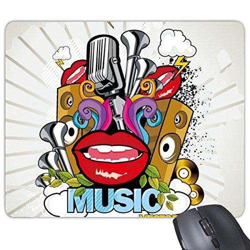 Graffiti Street Culture Kleurrijke Mond Stereo Microfoon Flash Cloud Muziek Vector Amerikaanse Kunst Illustratie Patroon Rechthoek Antislip Rubber Mousepad Game muismat