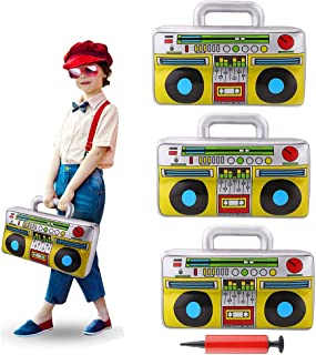 3 Pieces 16.7inch Inflatable Boombox Toy 80's 90's Boom Box Party Supplies for Old School Themed Party,Hip Hop Adults Costume Accessories and Rappers B-Boys Party Decoration