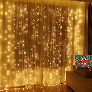 TOFU Curtain Lights,300 LED 9.8ft X 9.8ft 29V 8 Modes Christmas Decor Window Twinkle Lights for Home Wedding Party Patio Garden Outdoor Indoor Bedroom Decoration Lights (Warm White)