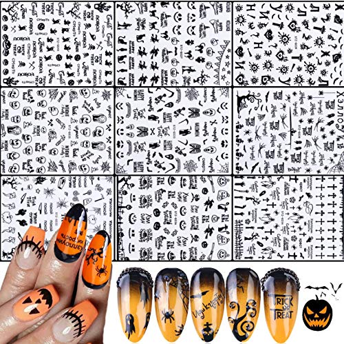 IDALL Halloween Party Nail Art Adhesive Stickers - 9 Sheets Black 3D Mixed Pattern Metallic Nail Stickers,Manicure DIY Nail Decals, Skull Devil Ghost Face Eye Blood Joker Clown Design Nail Decorations