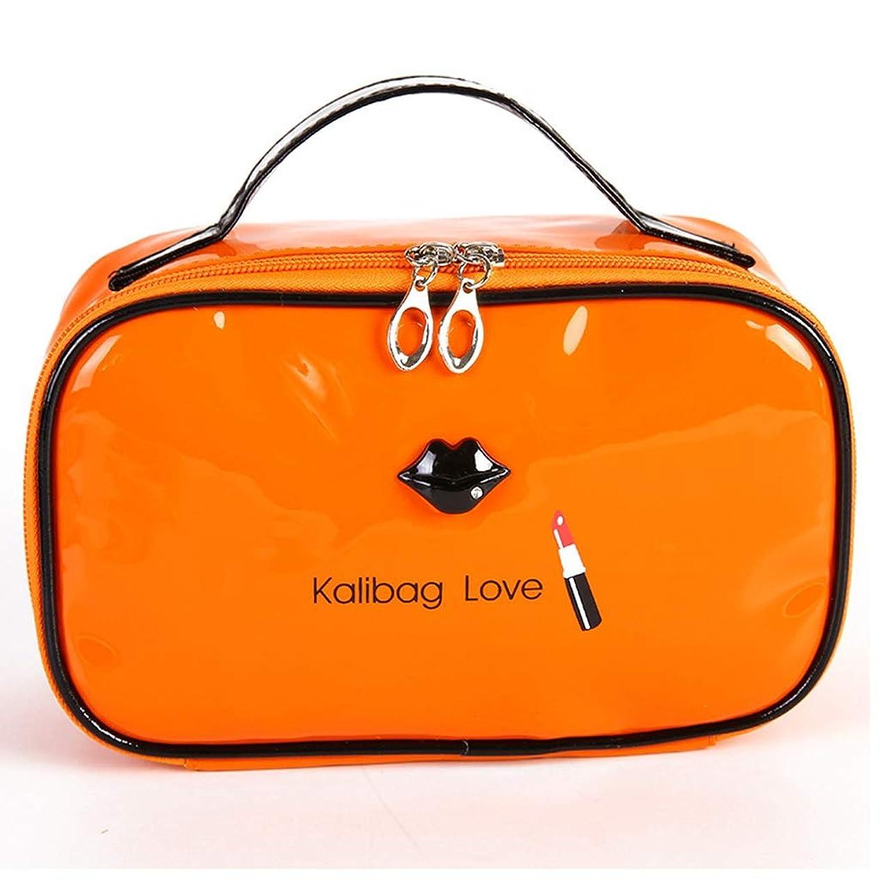 不十分な寄稿者神経障害[テンカ]メイクボックス オレンジ色 化粧ケース/バッグ/ポーチ 便携式 プロ用 收納抜群 収納袋 大容量 コスメケース 旅行用 メイクブラシバッグ 収納ケース 軽量 防水的 化粧箱 化粧品 化粧道具