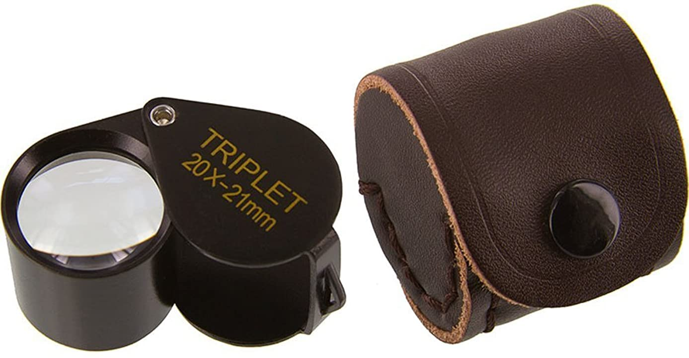 Ade Advanced Optics 2021TB 20x by 21 mm Triplet Professional Jewelers Loupe, Black with Leather Case