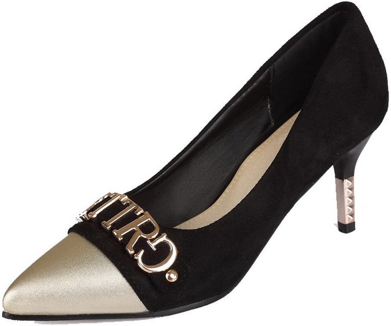 AllhqFashion Women's Pu Pointed-Toe Assorted color Pumps-shoes
