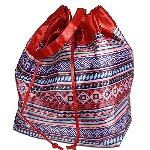 Vetrineinrete Borse a mano o spalla in raso colorate a onde o in fantasia geometrica di vari colori borsa sacca capiente con laccio per chiuderla per mare 42x34 cm (Fantasia geometrica, Rossa) G78