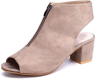 5e2a0a1ff01d8 Sandale Femme Compensées Chaussure Ete Cheville Bottines Bout Ouvert Chunky  Talon 5cm Fermeture éclair Suède Noir