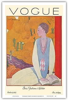 "Pacifica Island Art Vogue Magazine - 1925 年 10 月 - Paris Fashions - Georges Lepape 出品的复古杂志封面 1925 年 - 大师艺术印刷品 12"" x 18"" PRTB9328"