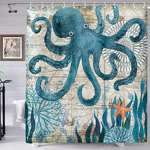 Oktopus Duschvorhang Antik Nautical Chart Pirat Schatzkarte Octopus Tintenfisch Monster Duschvorhang Blau Ozean Tier Badezimmer Dekoration 177,8 x 182,9 cm Haken Wasserdicht & Langlebig YLHXTE573